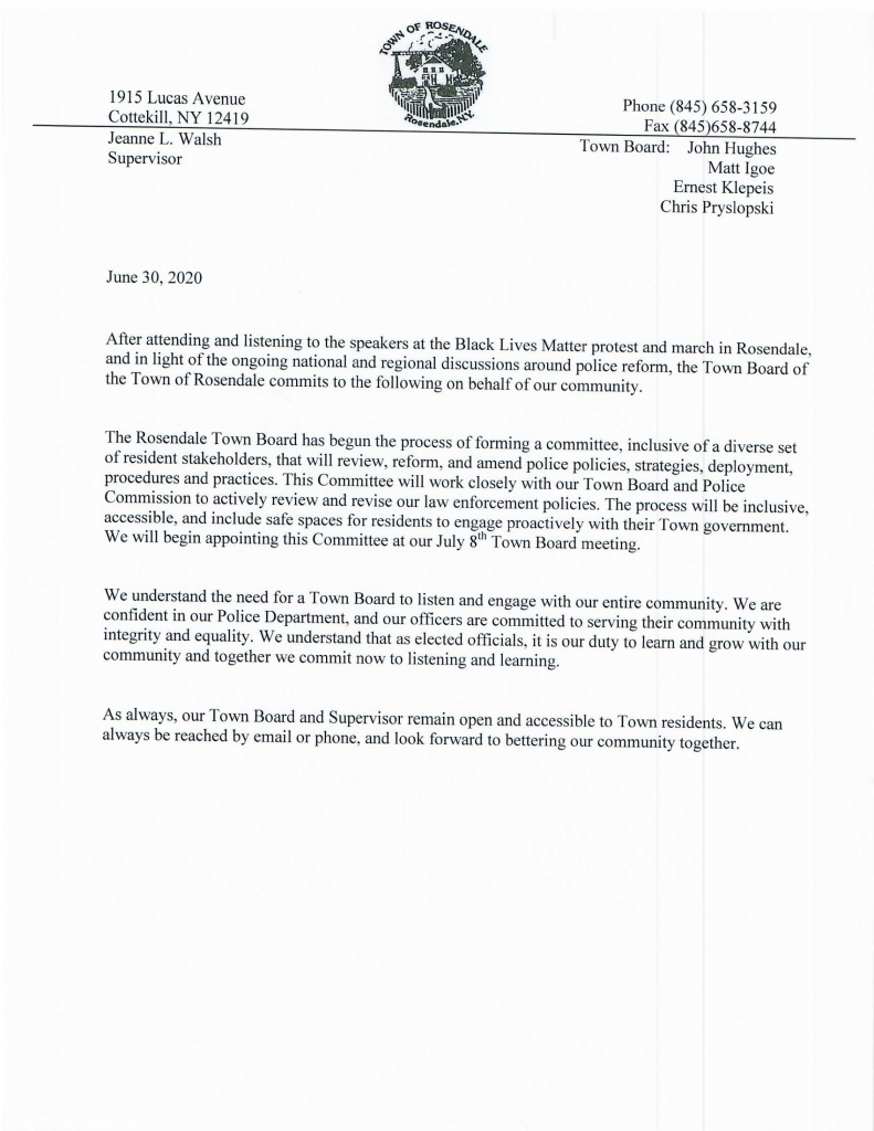 Statement Release on 7.1.2020 from Rosendale Town Board and Police Chief Scott Schaffrick